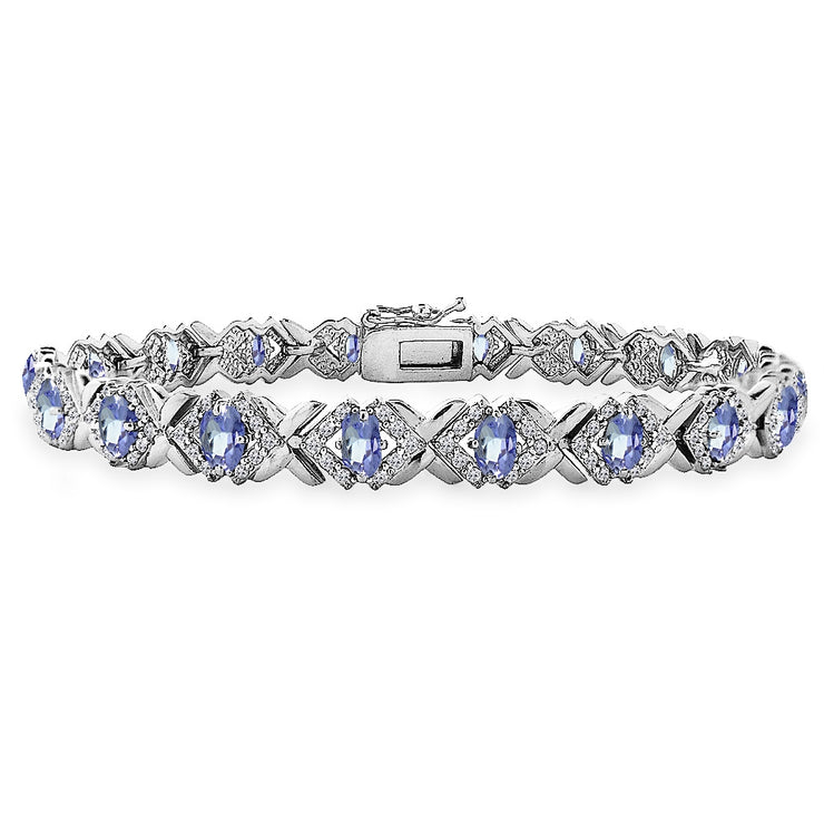 Sterling Silver Tanzanite Oval X Design Polished Tennis Bracelet