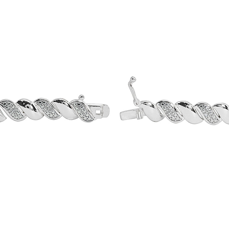 Sterling Silver Polished Swirl Round  Diamond Accent Fashion Bracelet, JK-I3