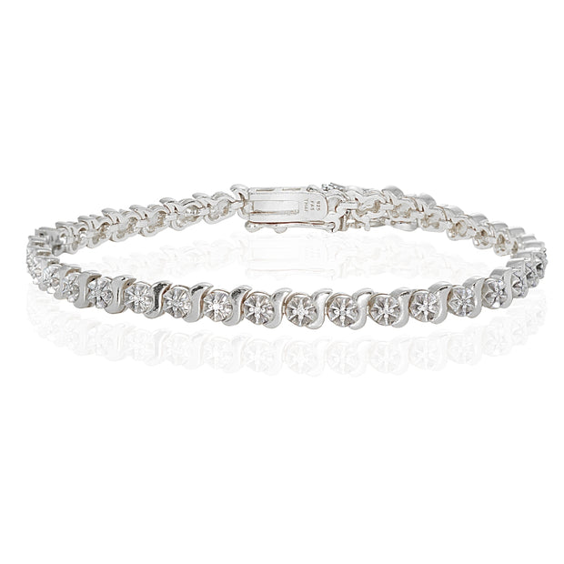 Sterling Silver Polished Swirl S Design Round  Diamond Accent Fashion Bracelet, JK-I3