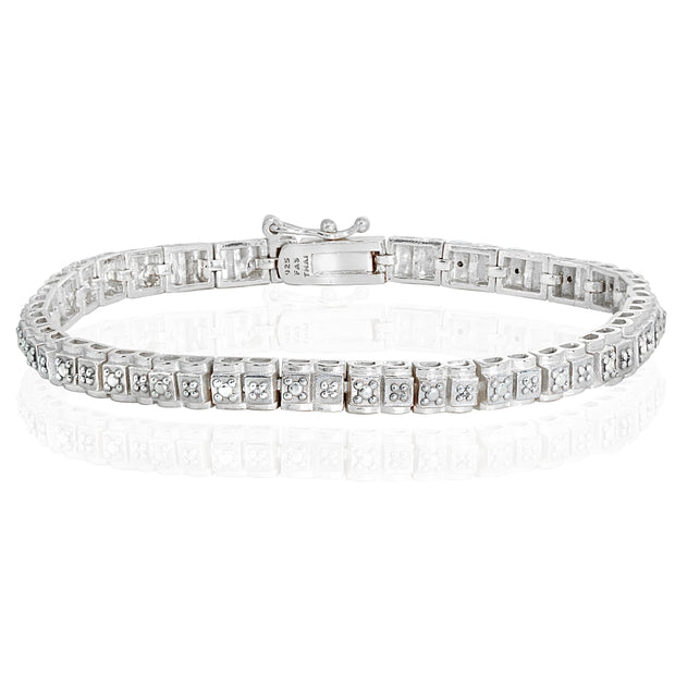 Sterling Silver Polished Square Diamond Accent Fashion Bracelet, JK-I3