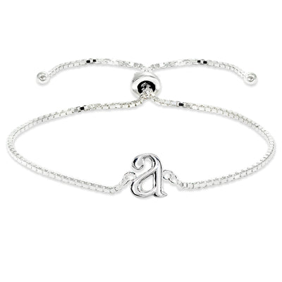 Sterling Silver A Letter Initial Alphabet Name Personalized 925 Silver Adjustable Bolo Bracelet