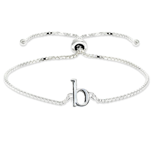 Sterling Silver B Letter Initial Alphabet Name Personalized 925 Silver Adjustable Bolo Bracelet
