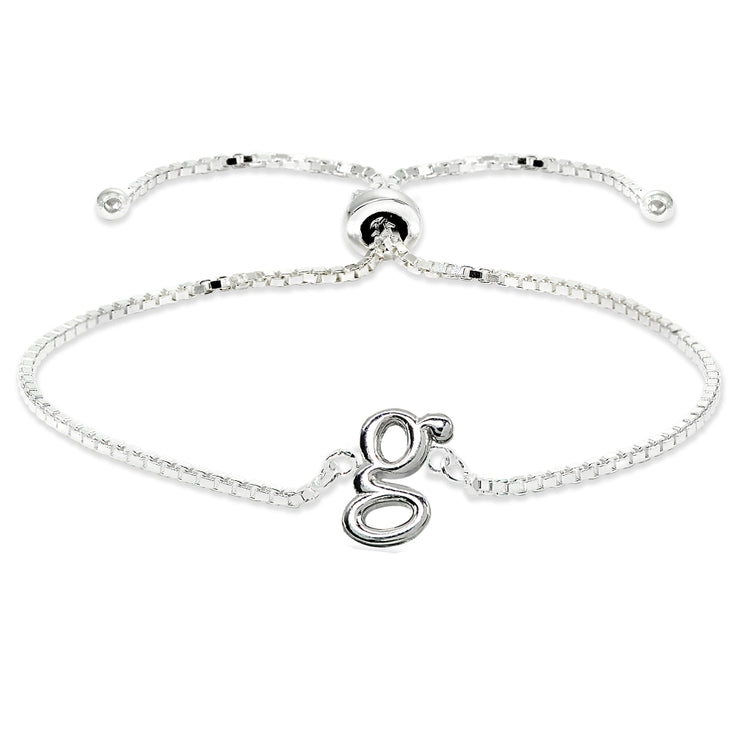 Sterling Silver G Letter Initial Alphabet Name Personalized 925 Silver Adjustable Bolo Bracelet