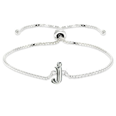 Sterling Silver J Letter Initial Alphabet Name Personalized 925 Silver Adjustable Bolo Bracelet