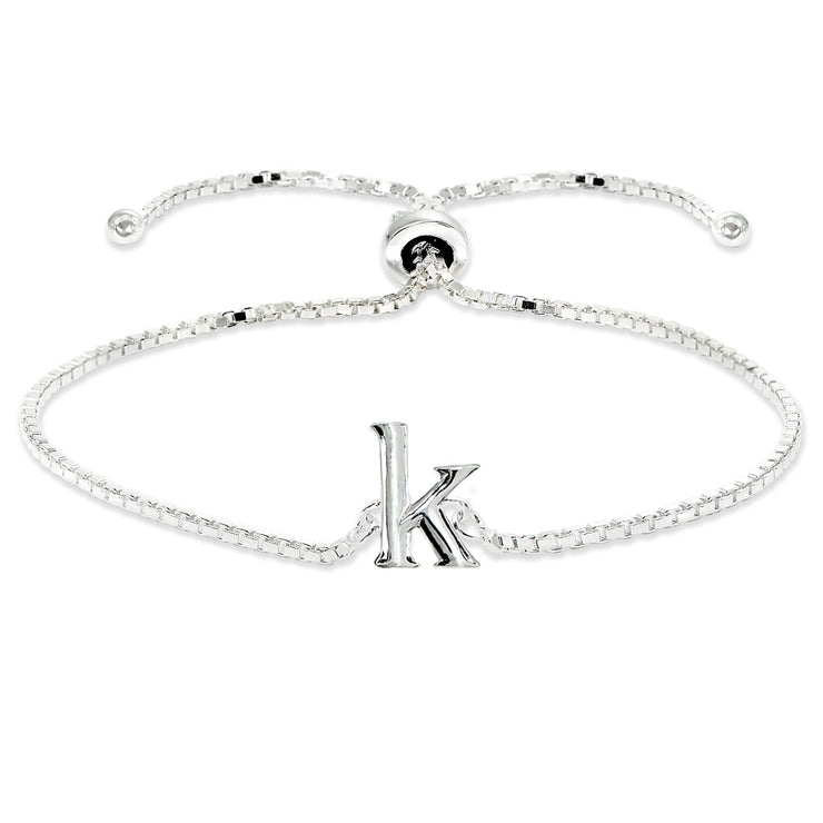 Sterling Silver K Letter Initial Alphabet Name Personalized 925 Silver Adjustable Bolo Bracelet