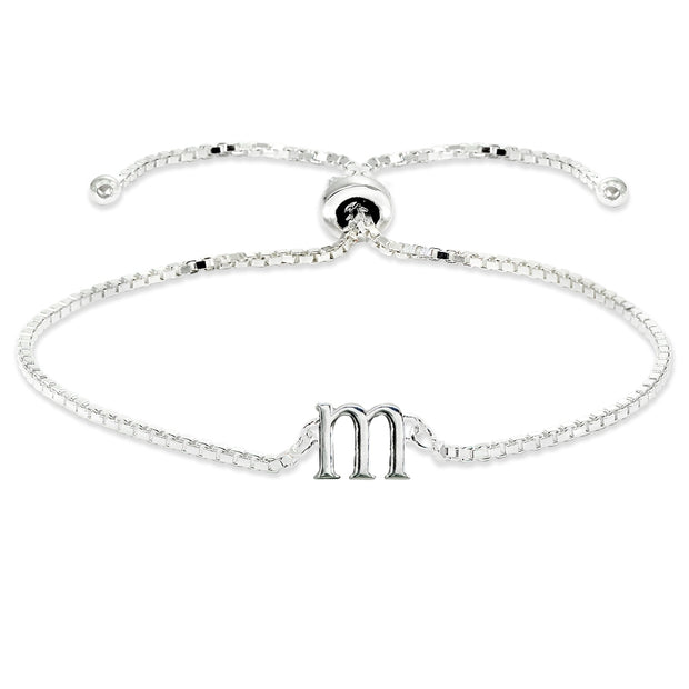 Sterling Silver M Letter Initial Alphabet Name Personalized 925 Silver Adjustable Bolo Bracelet