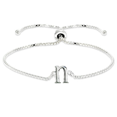 Sterling Silver N Letter Initial Alphabet Name Personalized 925 Silver Adjustable Bolo Bracelet