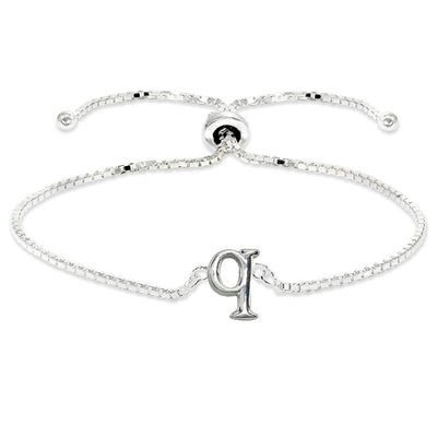Sterling Silver Q Letter Initial Alphabet Name Personalized 925 Silver Adjustable Bolo Bracelet