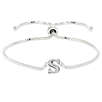 Sterling Silver S Letter Initial Alphabet Name Personalized 925 Silver Adjustable Bolo Bracelet