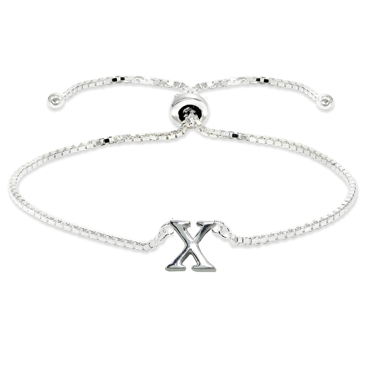 Sterling Silver X Letter Initial Alphabet Name Personalized 925 Silver Adjustable Bolo Bracelet