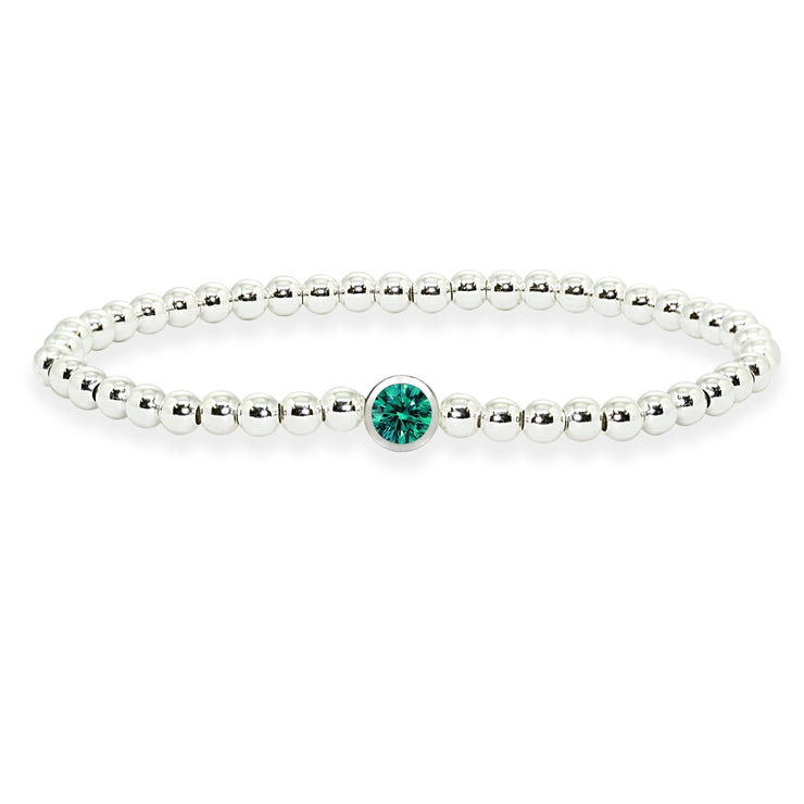 Sterling Silver Polished Beads Stretch Bracelet Made with Green Bluish Swarovski Crystal