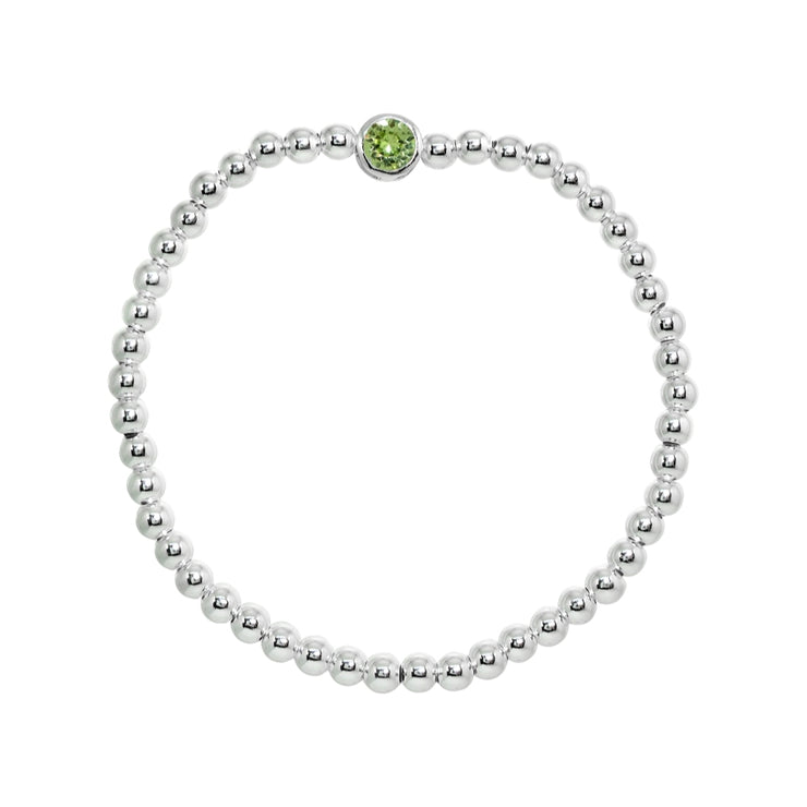 Sterling Silver Polished Beads Stretch Bracelet Made with Light Green Swarovski Crystal