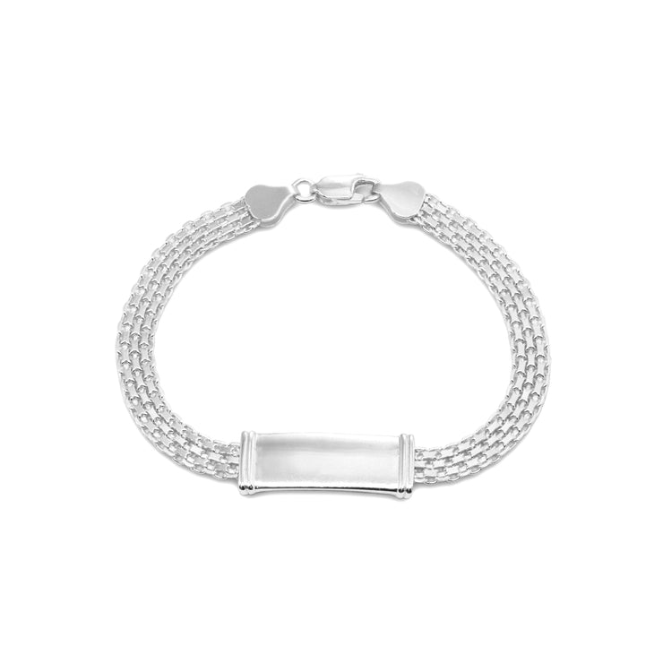 Sterling Silver Polished Bar Tube Fashion Mesh Chain Bracelet