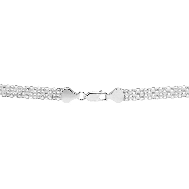 Sterling Silver Polished Pointed V Chevron Fashion Mesh Chain Bracelet