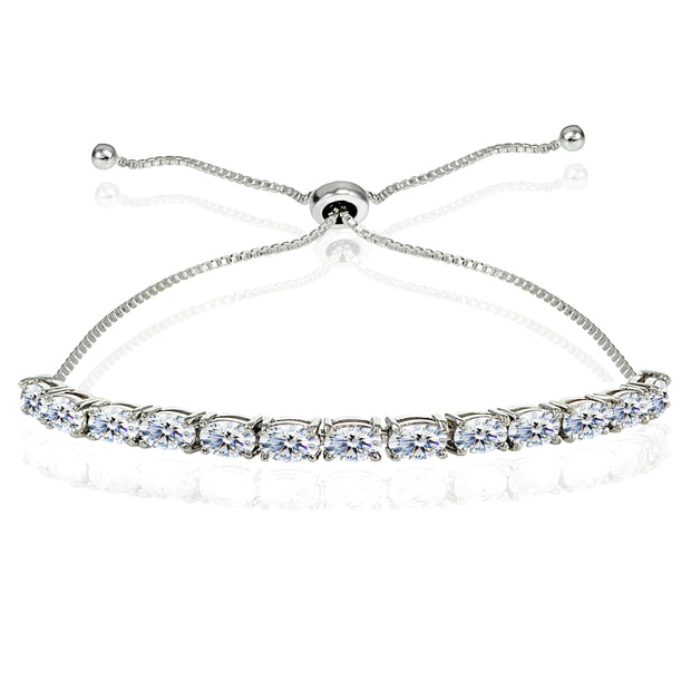 Sterling Silver Polished 5x3mm Oval Adjustable Bolo Bracelet Made with Swarovski Zirconia