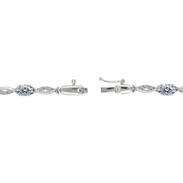 Sterling Silver Clear 6x4mm Oval-Cut Tennis Bracelet Made with Swarovski Crystals