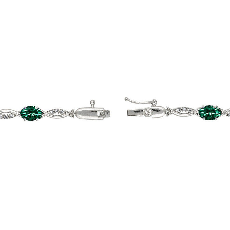 Sterling Silver Green 6x4mm Oval-Cut Tennis Bracelet Made with Swarovski Crystals