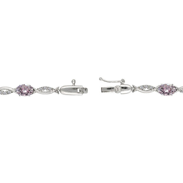Sterling Silver Pink 6x4mm Oval-Cut Tennis Bracelet Made with Swarovski Crystals