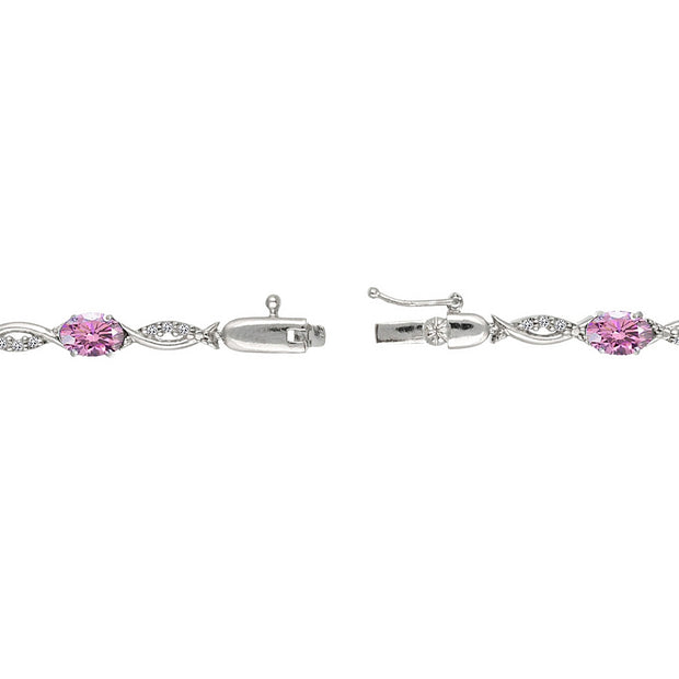 Sterling Silver Light Rose 6x4mm Oval-Cut Tennis Bracelet Made with Swarovski Crystals