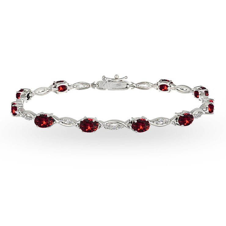 Sterling Silver Red 6x4mm Oval-Cut Tennis Bracelet Made with Swarovski Crystals