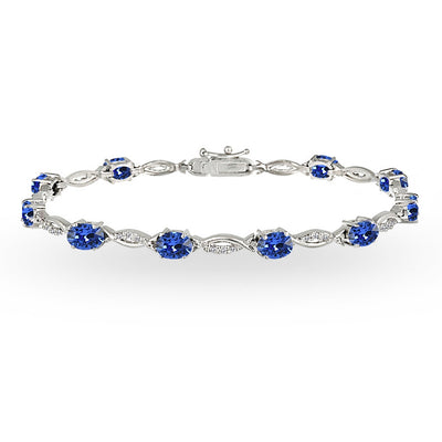 Sterling Silver Blue 6x4mm Oval-Cut Tennis Bracelet Made with Swarovski Crystals