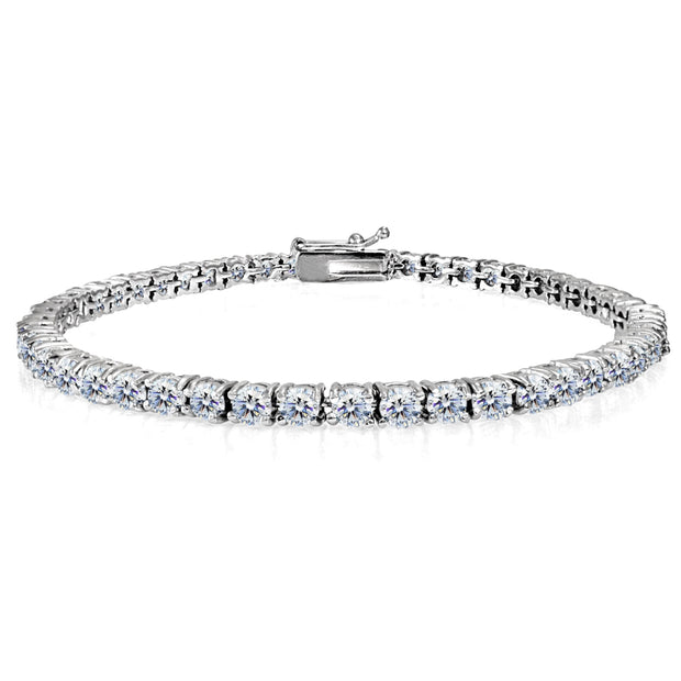 Sterling Silver 3mm Round-cut Classic Tennis Bracelet Made with Swarovski Zirconia