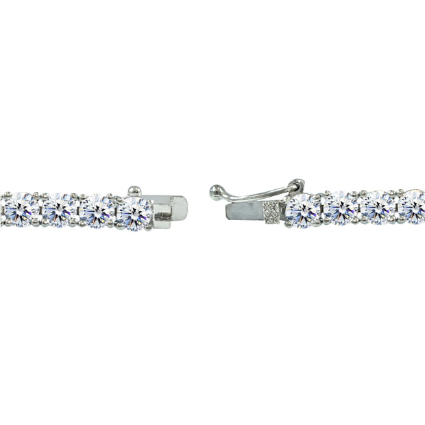 Sterling Silver 5mm Round-cut Classic Tennis Bracelet Made with Swarovski Zirconia