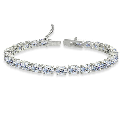 Sterling Silver 6x4mm Oval-cut Classic Tennis Bracelet Made with Swarovski Zirconia