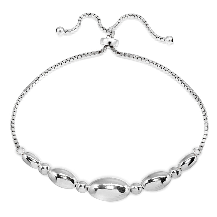 Sterling Silver Polished Oval Bead Adjustable Pull-String Box Chain Bolo Bracelet