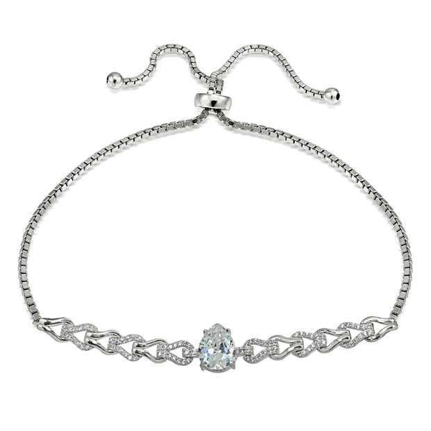 Sterling Silver Cubic Zirconia Teardrop Polished Adjustable Pull-String Box Chain Bolo Bracelet