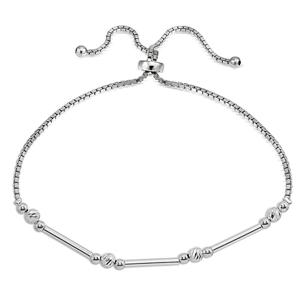 Sterling Silver Polished Bar Diamond-Cut Beads Adjustable Chain Bolo Bracelet