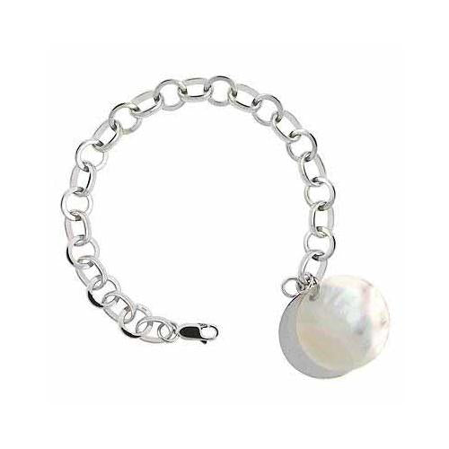 Sterling Silver Mother of Pearl Charm Bracelet