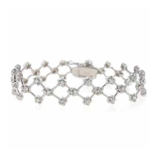 Sterling Silver CZ Criss Cross Flower Bracelet