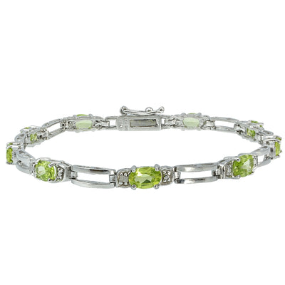 Sterling Silver Peridot and Diamond Accent Bracelet