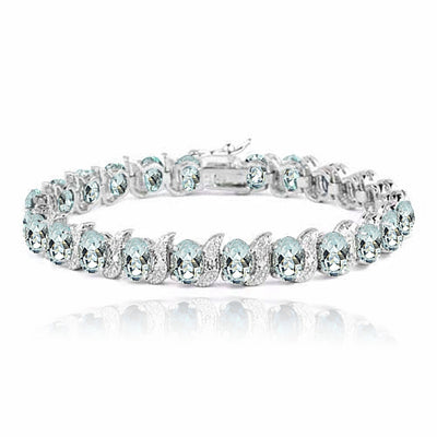Sterling Silver Genuine Aquamarine and Genuine Diamond Accent Bracelet