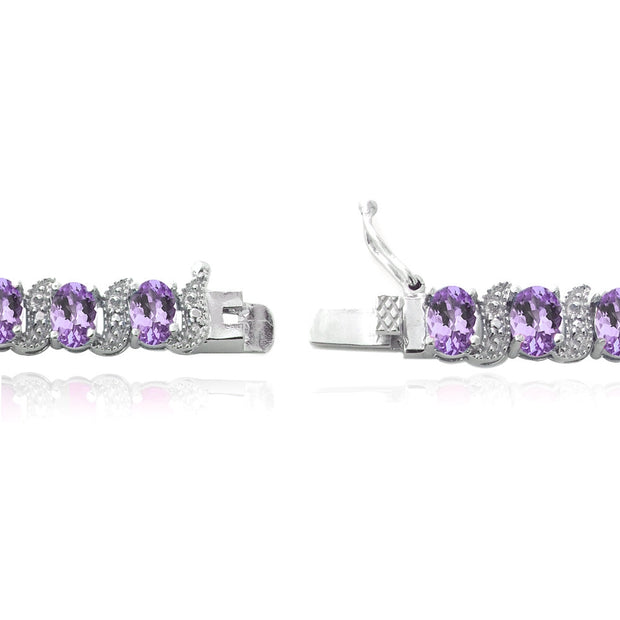 Sterling Silver Genuine Amethyst and Genuine Diamond Accent Bracelet