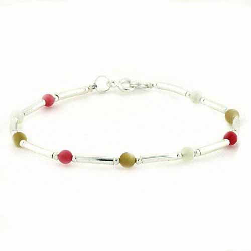 Sterling Silver Mother of Pearl, Natural Mother of Pearl, Bamboo & Pink Coral Bar & Bead Bracelet