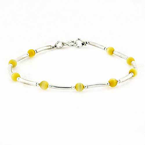 Sterling Silver Yellow Cats Eye Bar & Bead Bracelet