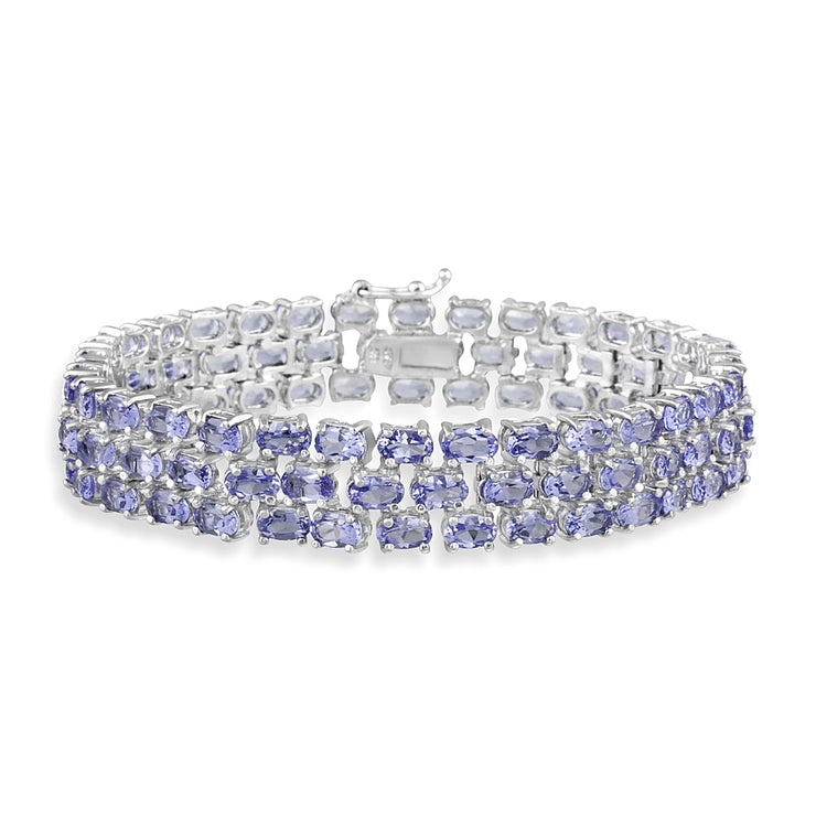 Sterling Silver Genuine Tanzanite Three Row Tennis Bracelet