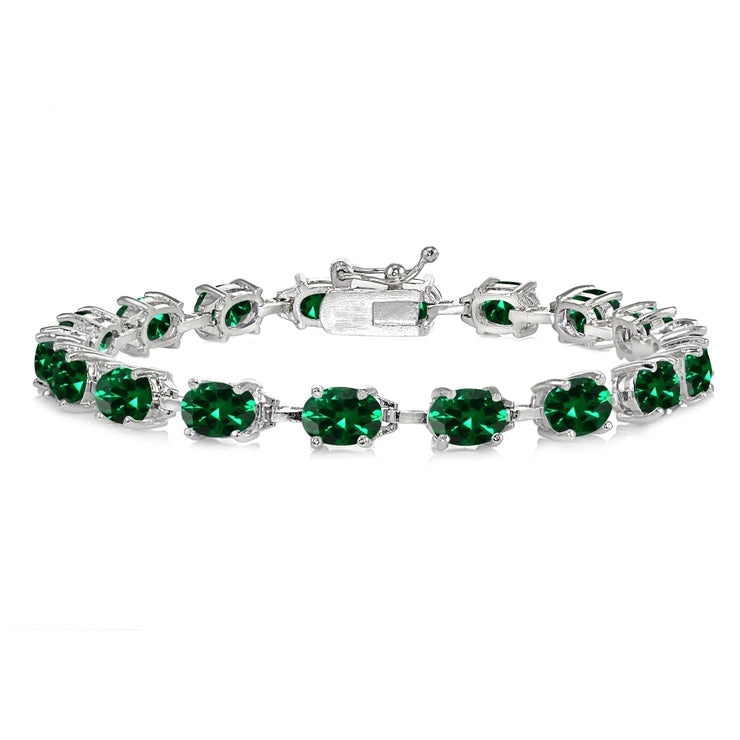 Sterling Silver Created Emerald 7x5mm Oval Classic Link Tennis Bracelet