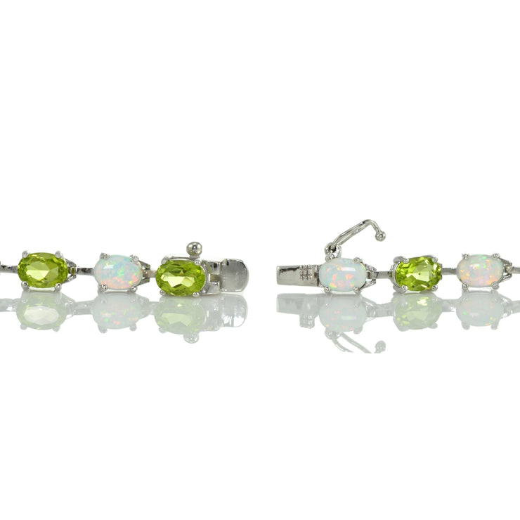 Sterlilng Silver Peridot and Created White Opal 7x5mm Oval-Cut Tennis Bracelet