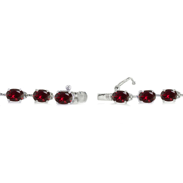 Sterling Silver Created Ruby 7x5mm Oval Classic Link Tennis Bracelet