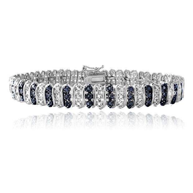 Sterling Silver Blue Diamond Accent S Pattern Tennis Bracelet