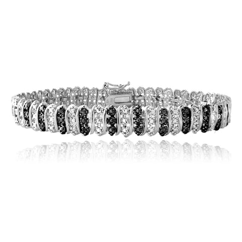 Sterling Silver Black Diamond Accent S Pattern Tennis Bracelet