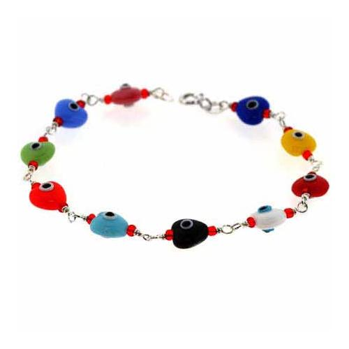 Sterling Silver Multi Color Heart 'Evil Eye' Bracelet