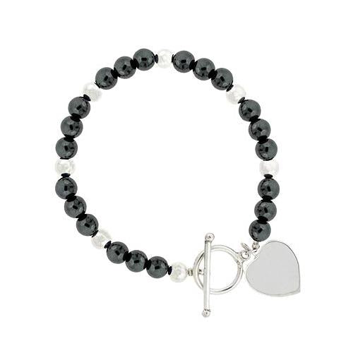 Sterling Silver Hematite 6mm Beaded Heart Bracelet