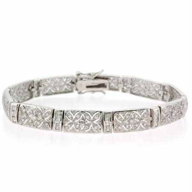 Sterling Silver Created Diamond cz Filigree Flower Tennis Bracelet