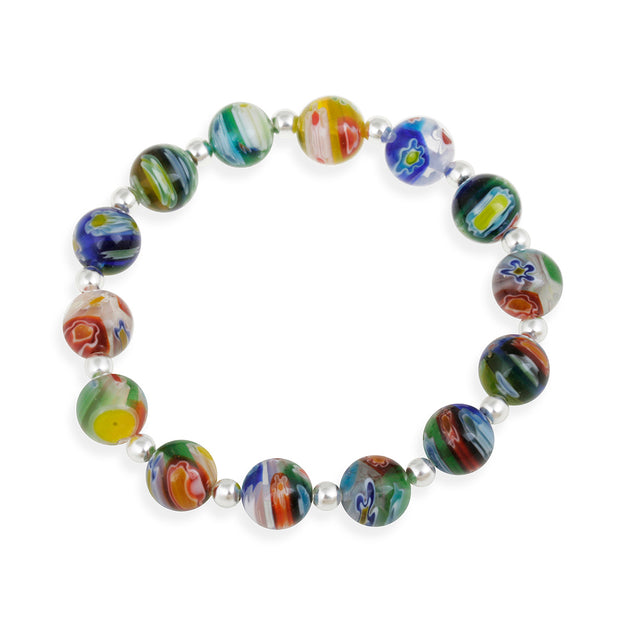Sterling Silver Venetian Murano Glass Beaded Millefiori Flower Stretch Bracelet