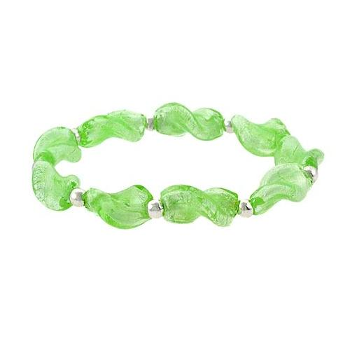 Sterling Silver Spring Green Twisted Foil Glass Stretch Bracelet
