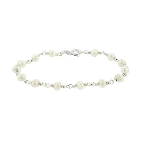 Sterling Silver Freshwater Cultured White Pearl Bead Link Bracelet